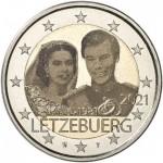 Luxemburgo 2€ 40º Aniversário Casamento Theresa e Henry 2021 (versão holograma)