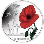 Falkland Islands 1 Crown Para não esquecer a Papoila Colorida 2017